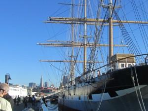 Am Pier der historischen Schiffe in San Francisco liegt die Balclutha vor Anker.